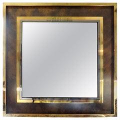 Italian Mid-Century Modern Square Brass Mirror-Romeo Rega Attributed