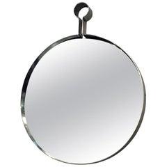 Italian Mid-Century Modern Steel Circular Mirror, 1970s