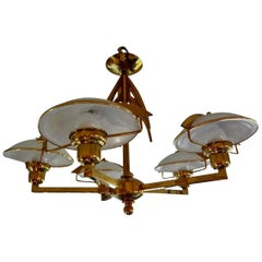 Italian Mid-Century Modern Stilnovo Style Brass and Glass Chandelier