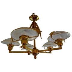 Italian Mid-Century Modern Stilnovo Style Five-Light Brass and Glass Chandelier