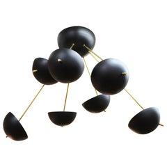 Italian Mid-Century Modern Stilnovo Style Sputnik Black Enamel Chandelier