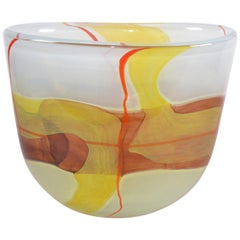 Italian Mid-Century Modern Striking Mustard Yellow & Red Blown Murano Glass Vase