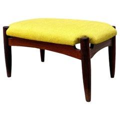 Italian Mid-Century Modern Teak and Yellow Cotton Footrest, 1960s