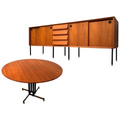 Italian Mid-Century Modern Teak Set with Sideboard, Table, Chairs, 1960s