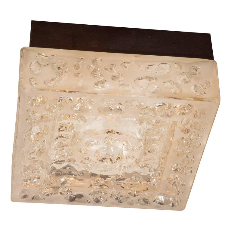 Italian Mid-Century Modern Textured Glass Square Flush Mount by BEGA