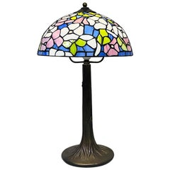 Italian Mid-Century Modern Tiffany Table Lamp with Liberty Colored Glass, 1960s