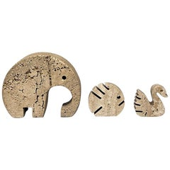 Italian Mid-Century Modern Travertine Animals by Mannelli Brothers, 1970s