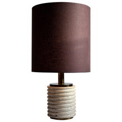 Italian Mid-Century Modern Travertine Brown and Beige Table Lamp