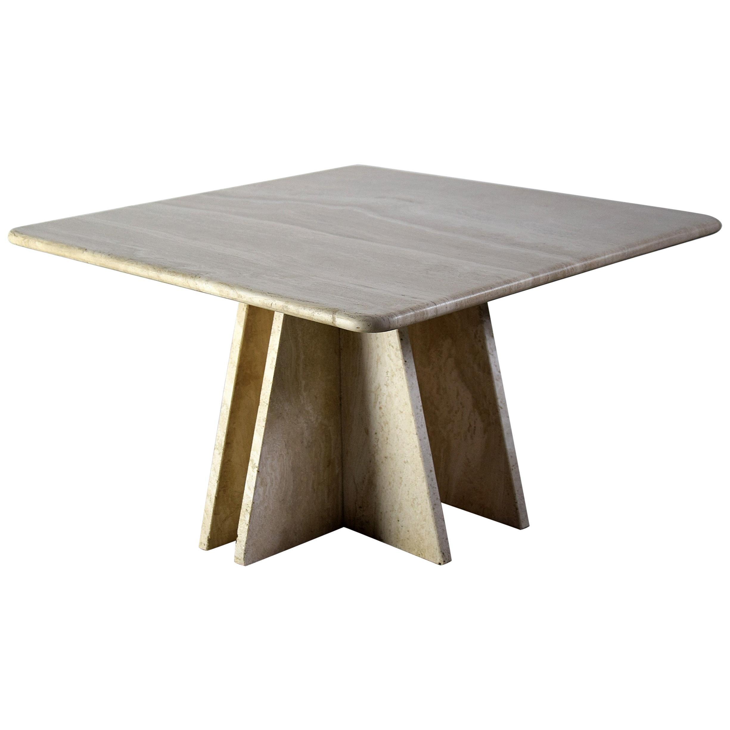 Italian Mid-Century Modern Travertine Coffee Table