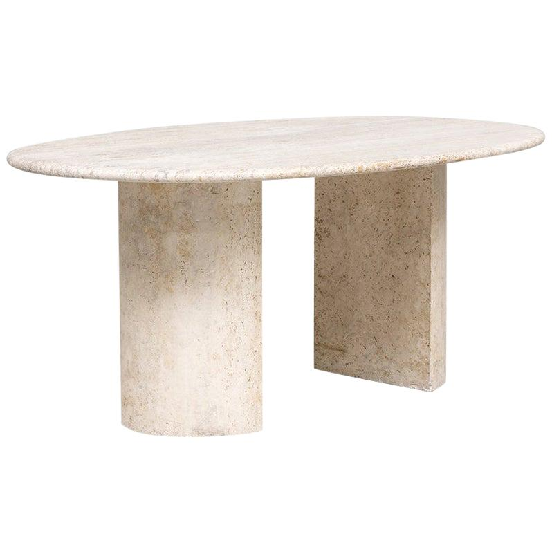 Italian Mid-Century Modern Travertine Dining Table Dolmen by Cappellini, 1970s
