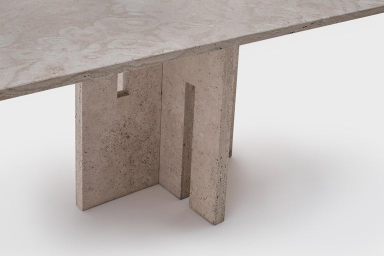 Italian Mid-Century Modern Travertine Dining Table in the Style of Carlo Scarpa In Excellent Condition For Sale In Rotterdam, NL