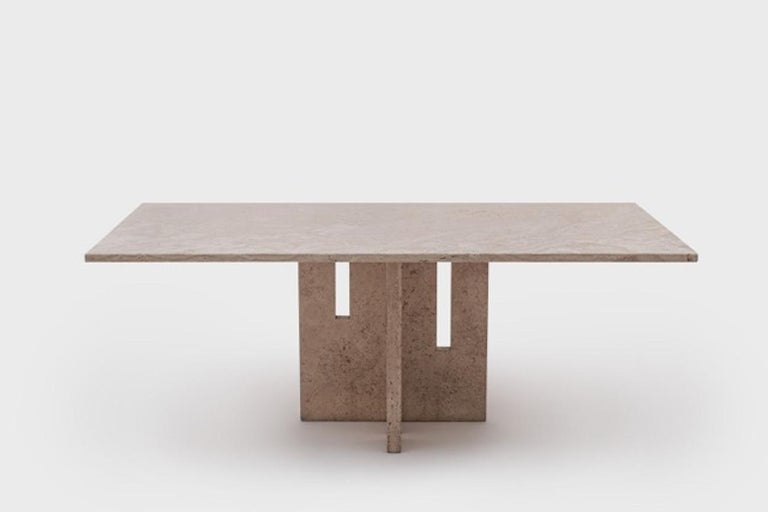Italian Mid-Century Modern Travertine Dining Table in the Style of Carlo Scarpa For Sale 4