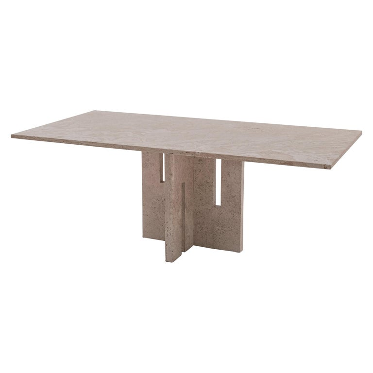 Italian Mid-Century Modern Travertine Dining Table in the Style of Carlo Scarpa For Sale