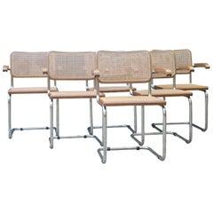 Italian Mid-Century Modern Tubular Steel Beech Wood Cane Chairs, 1970s