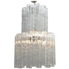 Italian Mid-Century Modern Two-Tier Long Crystal Tronchi Shades Chandelier