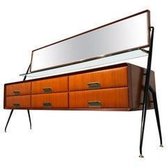 Italian Mid-Century Modern Vanity Dresser with Mirror by Silvio Cavatorta, 1950s