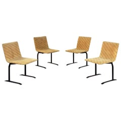 Italian Mid-Century Modern Velvet Chairs by Giovanni Offredi for Saporiti, 1970s