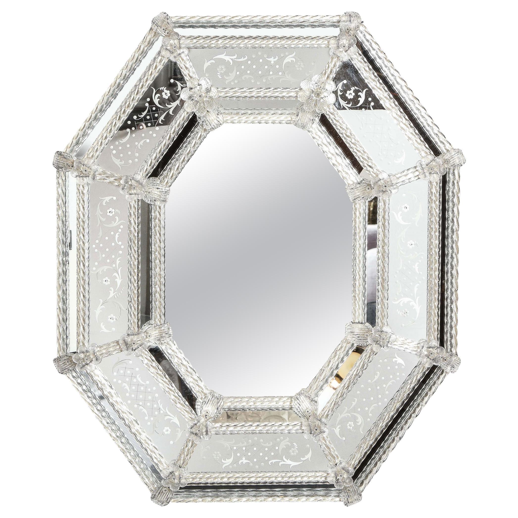 Italian Mid-Century Modern Venetian Braided Mirror with Murano Glass Appliqués