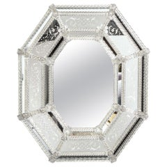 Italian Mid-Century Modern Venetian Braided Mirror with Murano Glass Appliqués
