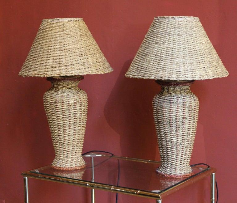 Italian Mid-Century Modern Vintage Woven Rattan Table Lamp ...
