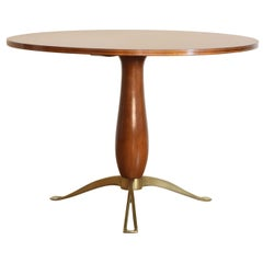 Italian Mid-Century Modern Walnut Center/Dining Table, Shaped Brass Supports