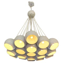 Italian Mid-Century Modern White 19 Lights Chandelier with Cluster Structure,70s