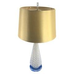 Italian Mid-Century Modern White Murano Art Glass Table Lamp