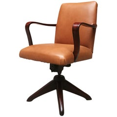Italian Mid-Century Modern Wood and Leather Swivel Office Armchair, 1960s