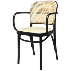 Italian Mid-Century Modern Wood and Original Straw Chair in Thonet Style, 1960s