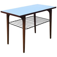 Italian Mid-Century Modern Wood Coffee Table with Metal Magazine Rack, 1970s