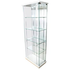Italian Mid-Century Modern Wood and Glass Showcase Display Cabinet, Storage Case