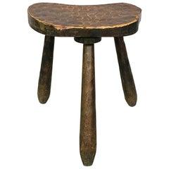 Italian Mid-Century Modern Wood Rustic Stool with Tapered Legs, 1960s