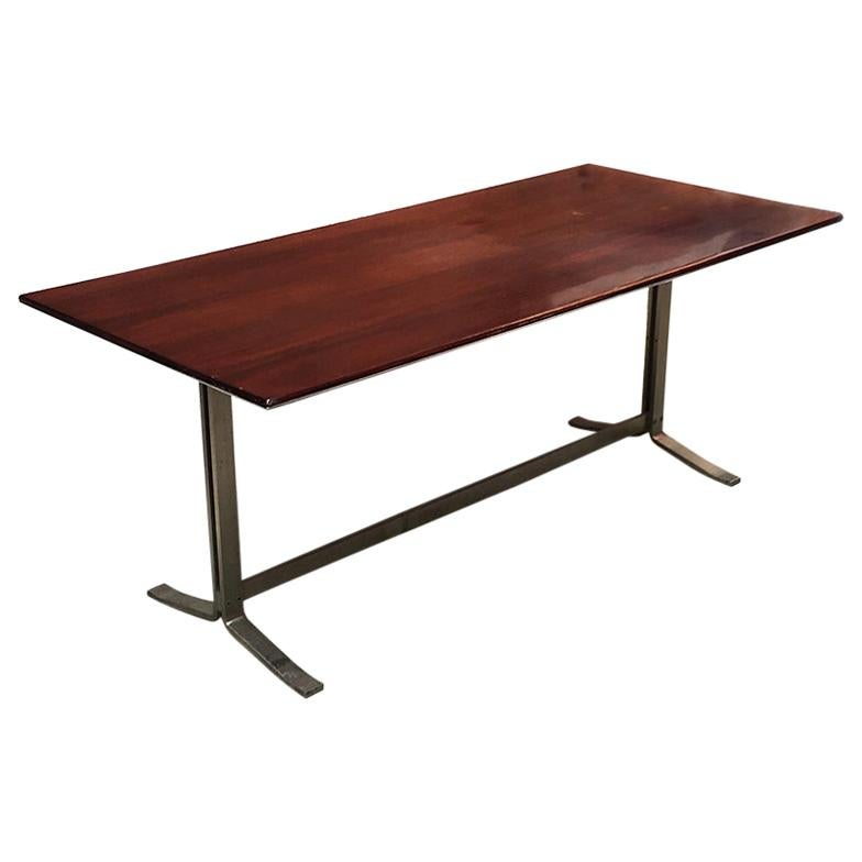 Italian Mid-Century Modern Wood Top and Steel Base Desk Table by Formanova,1970s