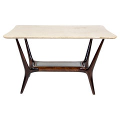 Italian Mid-Century Modern Wooden, Marble Brown Coffee Table with Glass, 1950s