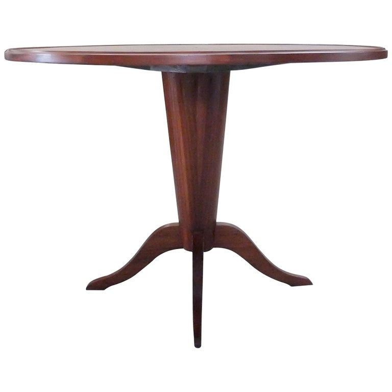 Italian Mid-Century Modern Wooden Round Table, 1950s