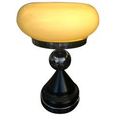 Italian Mid-Century Modern Yellow Opaline Table Lamp