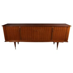 Italian Mid-Century Modern Zebra Wood Sideboard with Brass Sabots, Locks & Keys