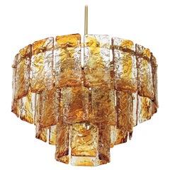 Italian Mid-Century Modernist Mazzega Murano Amber Glass Skyfall Chandelier
