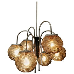 Italian Mid-Century Modernist Sputnik Murano Glass & Chrome 6-Light Chandelier