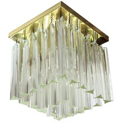 Italian Mid-Century Modernist Triedri Camer Murano Glass Ceiling Light Fixture