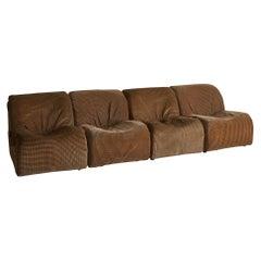 Italian Mid Century Modular 4-Piece Sofa or Set of 4 Lounge Chairs