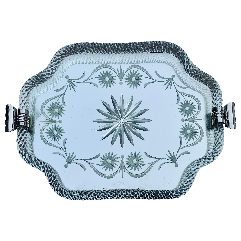 Italian Midcentury Murano Etched Glass Barware Serving Tray