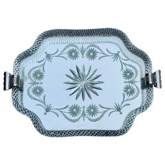Italian Midcentury Murano Etched Glass Barware Serving Tray