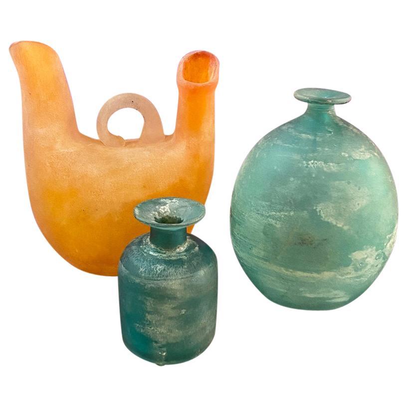 Italian Midcentury Murano Glass Vases by Gino Cenedese from Scavo Series, 1960s