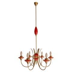 Italian Mid-Century Murano Red Glass Chandelier Gio Ponti Style, 1950s