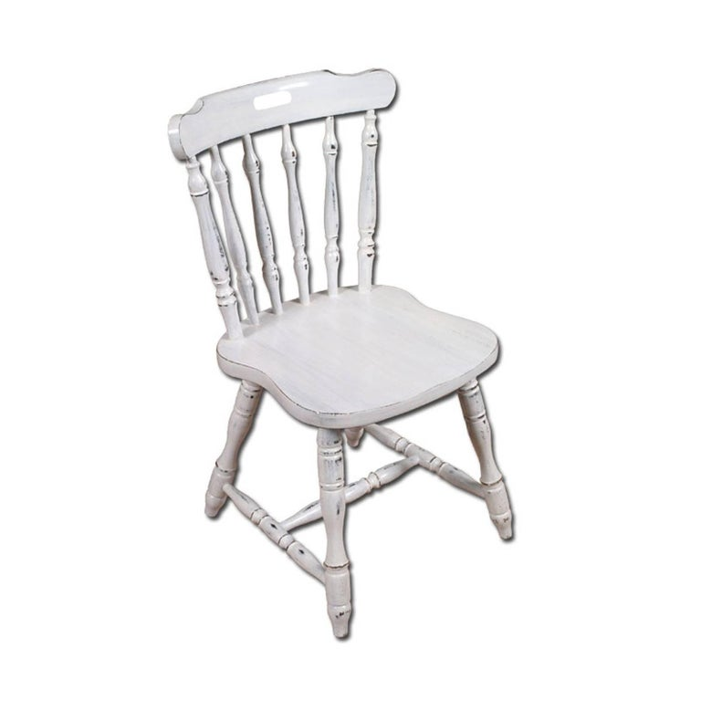 Country Italy Dining Chairs & Table, Old America, country , White color painted For Sale