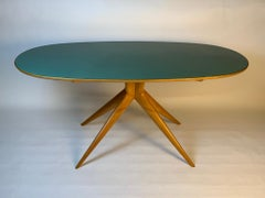 Italian Mid Century Oval Dining Table Green Glass Top