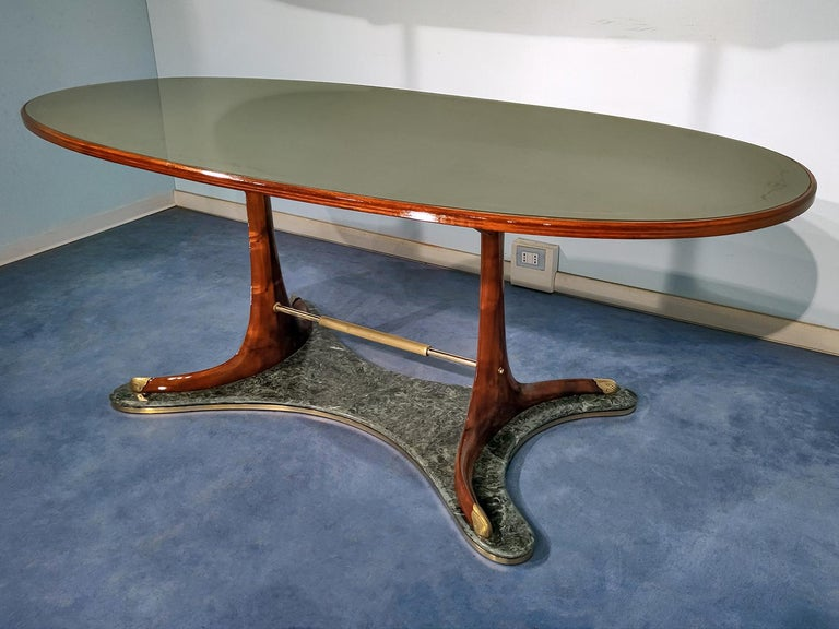 Italian Mid-Century Oval Dining Table in Hardwood by Vittorio Dassi, 1950s For Sale 4