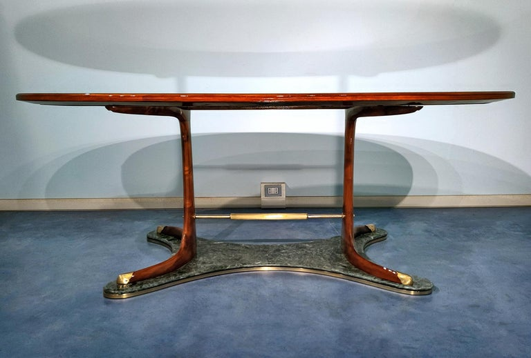 Italian Mid-Century Oval Dining Table in Hardwood by Vittorio Dassi, 1950s For Sale 6