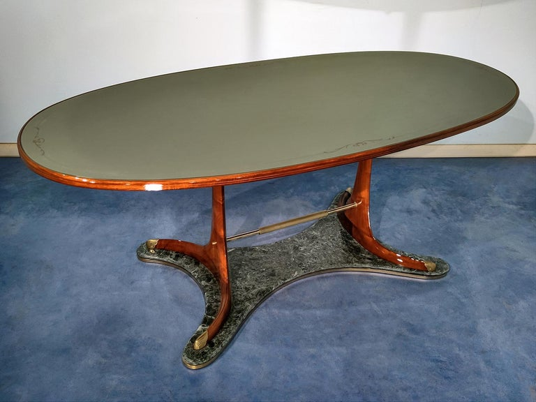 Italian Mid-Century Oval Dining Table in Hardwood by Vittorio Dassi, 1950s For Sale 7